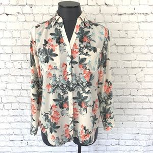 Talbots Nantucket Cream Floral Button Down Blouse